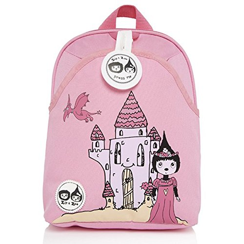 Babymel Kids Mini Backpack Rucksack with Harness & Musical Tag - Castle Zoe Pink Design - Suitable from 1-4 Years