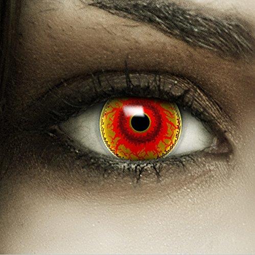 Farbige Kontaktlinsen ohne Stärke Red Monster + Kunstblut Kapseln + Kontaktlinsenbehälter, weich ohne Sehstaerke in rot und braun und schwarz, 1 Paar Linsen (2 Stück)