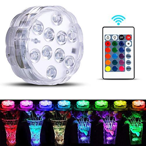 Ohiyoo Unterwasser Licht, Unterwasser Licht LED mit Fernbedienung RGB Multi Farbwechsel wasserdichte LED Leuchten für Vase Base Party,Weihnachten,Schwimmbad, Halloween, Weihnachten - 1 Stück