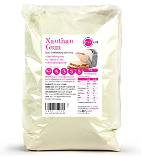 PINK SUN Goma Xantana Sin Gluten Espesante Polvo Extra Fino - Xanthan Gum Powder 250g Gluten Free