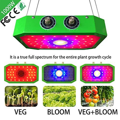 1000W COB Dual LED Pflanzenlampe Pflanzenlicht, VEG/BLOOM Dimmen Pflanzenleuchte WachstumslampeVollspektrum für Zimmerpflanzen/Gemüse/Blumen und Gewächshaus Pflanze Grün