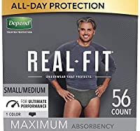 Depend Real Fit 失禁 男性用 下着 Small/Medium (Pack of 56), Black