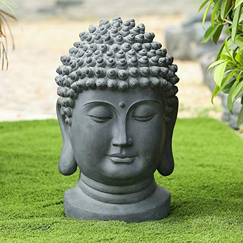 Buddha Head Garden Outdoor Statue Grey Oriental Polyresin