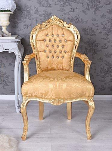 Thron Sessel Esszimmer Stuhl Barock Sessel Gold Strasssteine Palazzo Exklusiv