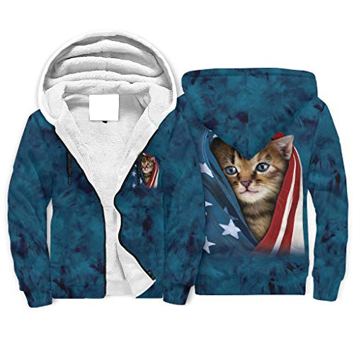 Cutenono Chaqueta con capucha para hombre con diseño de gato y animales, manga larga, con cremallera, para invierno blanco 5XL