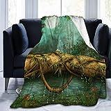 AEMAPE Manta de Tiro, Bosque de fantasía Cuento de Hadas Seta Selva Árbol Verde Estanque Prado Mariposa Elfo Vista Nocturna Luna Suave y cálida Manta 153X127CM