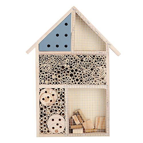 de Fin d'année Maison à Insectes en Bois, abri pour hôtel en Bois Bug Room 13.8x10.0x1.4in Tunnels tubulaires Bee House Garden Decoration Nids Box pour pelouse, Jardin, Arbre