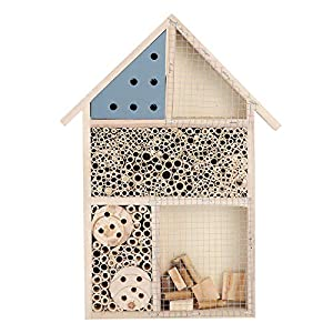 Petyoung Natural Wooden House Insect Hotel Bee House Habitat for Beneficial Bug Bees Butterfly,Ladybirds
