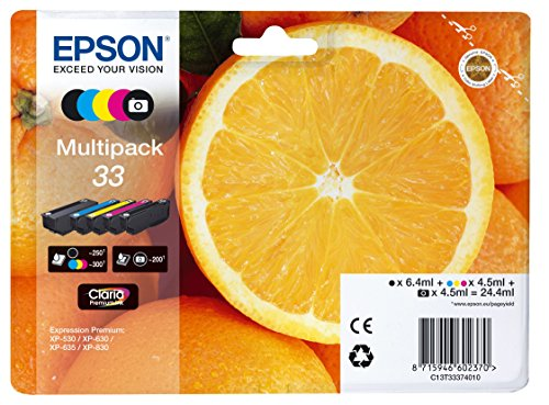 Epson c13t33374011 Cartuchos de Tinta original Pack of 5 válido para los modelos XP-530, XP-540, XP-630, XP-635, XP-640, XP-645, XP-830, XP-900 y otros, Ya disponible en Amazon Dash Replenishment