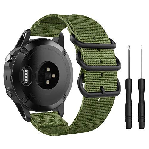 MoKo Reloj Correa Compatible con Garmin Fenix 6/6 Pro, Fenix 5S/5S Plus, Respirable y Reemplazable Pulsera Deportivo de Reloj de Nylon - Ejercito Verde