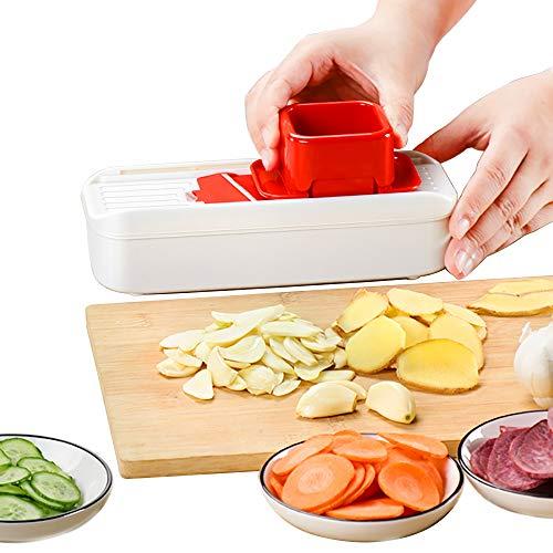 YQQWN Gemüsehacker Slicer Dicer - 4-In-1 Obst Cutter Slicer Mandolinist Nahrungsmittelzerhacker/Cutter mit 2 Klingen aus rostfreiem Stahl, mit Vorratsbehälter