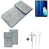 K-S-Trade Filz Schutz Hülle Für Hisense Infinity H11 Pro Schutzhülle Filztasche Pouch Tasche Handyhülle Filzhülle Hellgrau, Blauer Rand + Kopfhörer