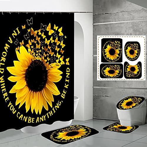 Badezimmer Matte Sets 4 Stück mit 12 Haken,Sonnenblume Bunte Wort Buchstaben drucken Teppich Fußmatten Dekor Dusche Vorhang & Teppiche Bad Matte für Wanne Kinder Boden,Blumen-Duschvorhang