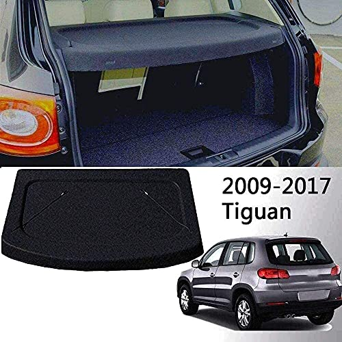 Caartonn Cargo Cover for 2010-2017 Volkswagen Tiguan Black Rear Trunk Luggage Security Shade Shield (Can Withstand The Load)