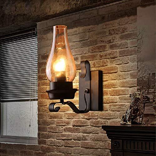 Retro Korridor Lichter Retro Wandleuchte Vintage Industrie Schwarz Wandlampe Mit Klarer Glas Schornstein Schatten E27 Sockel-Lampe Innen Für Dachboden Terrasse Restaurant