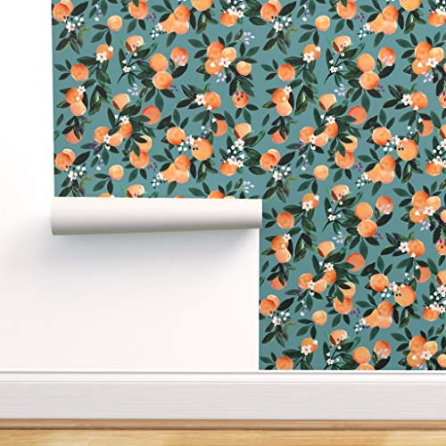 Spoonflower Peel and Stick Removable Wallpaper, Citrus Floral Citric Orange Kitchen Fun Flowers Fashion Fruit Garden Outdoors Pretty Print, Self-Adhesive Wallpaper 12in x 24in Test Swatch