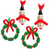 Christmas Craft for Kids 15 PCS Snowman plus 12 PCS Wreath Beaded Ornaments Kits -- Xmas Holiday Party Tree Favor Decorations(Assembly Needed)