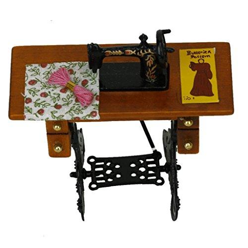 Newin Star Máquina de coser vintage en miniatura con ropa para decoración de casa de muñecas de escala 1/12