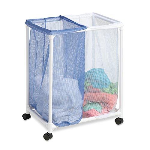 Honey-Can-Do HMP-01628 2 Bag mesh Laundry sorter, White/Blue