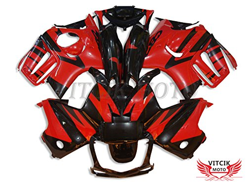 VITCIK (Fairing Kits Fit for Honda CBR600F3 CBR600F 1997 1998 CBR 600 F3 97 98 Plastic ABS Injection Mold Complete Motorcycle Body Aftermarket Bodywork Frame (Red & Black) A004