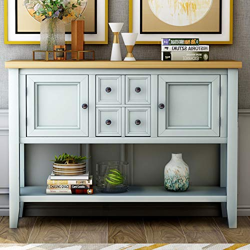 Buffet Table, Cambridge Series Sideboard Table with Bottom Shelf, Console Table Dining Room Server, Entry Table Buffet Cabinet Sofa Table (Lime White)