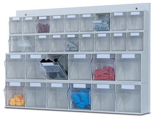hünersdorff MultiStore Wand-Set: Regalsystem aus Rückwand & 30 Klarsichtbehälter mit Kippschublade (MultiStore Riegel Nr. 6 und 9) aus Polystyrol
