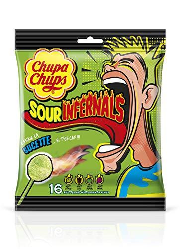 Chupa Chups Sachet De 16 Sucettes Sour Infernal Goût Citron, Cola, Pomme, Fraise 152g