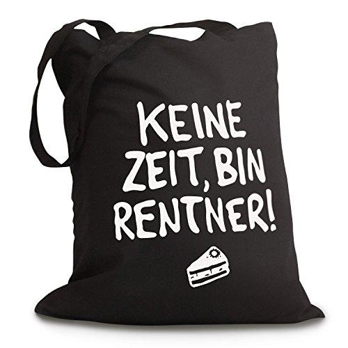 Schwarzer Jutebeutel Keine Zeit, Bin Rentner
