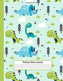 Primary Story Journal: Cute Dinosaurs - Primary Composition Half Page Lined Paper with Drawing Space 109 Story Pages ( Size: 8.5