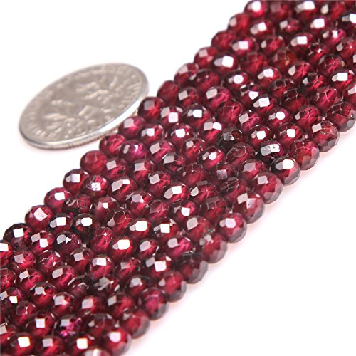 JOE FOREMAN Garnet Beads for Jewelry Making Natural Gemstone Semi Precious AAA Grade 4mm Round Faceted 15