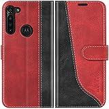 Mulbess Handyhülle für Motorola Moto G8 Power Hülle Leder, Motorola Moto G8 Power Handy Hüllen, Modisch Flip Handytasche Schutzhülle für Motorola Moto G8 Power, Wine Rot
