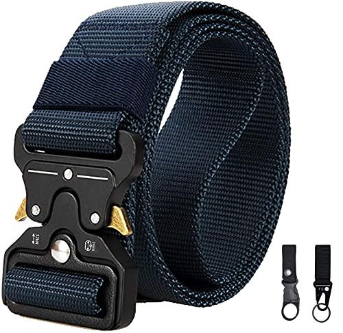 Cinturón Táctico, TOSKOU Estilo Militar Correa de Cintura de Nylon de Alta Resistencia Cinturón de Servicio Pesado con Hebilla de Metal de Liberación Rápida para Hombres y Mujeres para Entrenamiento de Caza Ejército Que se Ejecuta (Azul)