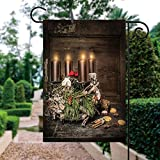 ALUONI Garden Flags, Rustic Advent Wreath with Four Burning Candles and Traditional Cookie Yard Holiday and Seasonal Decorative Flags Garden Outdoor Decorative - 12 x 18 in IS159936