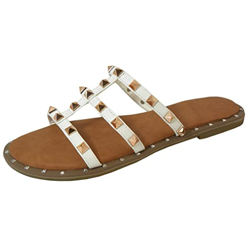 17e0c5f6f4c Cambridge Select Women s Strappy Open Toe Caged Cutout Pyramid Studded  Slip-On Flat Slide Sandal