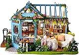 QLKJ DIY Mini Puppenhaus Holz MöBel Kit Rose Garden Teehaus-Handgemachte Cottage FüR Die Montage Geburtstagsgeschenke