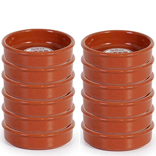 Pack de 12 Cazuelas redondas de barro, diámetro exterior 11.3 cm, diámetro interior 9.7 cm, apta para vitro y horno