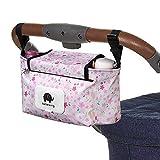 Baby Stroller Organizer Bag, Pram Buggy Organiser Storage Bag for Buggies, Diaper Bag Hanging Bottle Holder for Pushchair, with Sticky, Straps & Clips, Waterproof, Universal. (Pink)