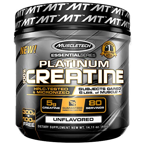 Creatine Monohydrate Powder | MuscleTech Platinum Creatine Powder | Pure Micronized Creatine Powder | Post Workout Supplement, Muscle Recovery + Muscle Builder | Mass Gainer | Unflavored (80 Servings)