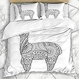 Juegos de fundas nórdicas Coloring Farm Alpaca Zentangle Book Adult Abstract Funny Safari Zoo Diseño artístico antiguo Ropa de cama de microfibra doméstica con 2 fundas de almohada Cuidado fácil Anti-