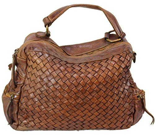 BZNA Bag Marie cognac sheep Italy Designer Damen Handtasche Schultertasche Tasche Schafsleder Shopper Neu
