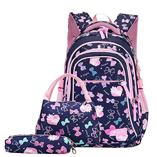 Bansusu Girls Bowknot Cat Prints Primary School Backpack Set with Lunch Kits 3 pcs Deep Blue