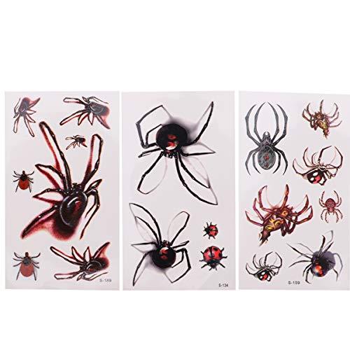 Beaupretty 30 Stück Halloween Temporäre Tattoos Wasserdichte Spinne Gesicht Aufkleber Körper Tattoo Gesicht Abziehbilder für Cosplay Maskerade Party Gunst