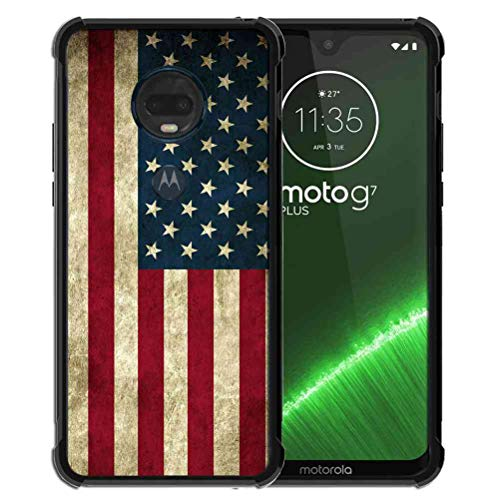 for Moto G7 Case/Moto G7 Plus Case Us Grunge Flag Pattern, ABLOOMBOX Shock Soft Bumper Slim Rubber Protective Case with Reinforced Corners for Motorola Moto G7/G7 Plus