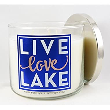 LIVE LOVE LAKE Bath & Body Works 3-Wick Turquoise Waters Scented Glass Candle with Silver Lid