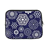 Design Custom Round Flower Zentangle Boho Porcelain Ton Sleeve Soft Laptop Case Bag Pouch Skin for MacBook Air 11'(2 Sides)