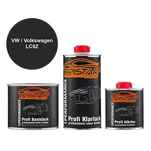 TRISTARcolor Autolack Set Dose spritzfertig für VW/Volkswagen LC9Z Black Magic Perl/Preto Magic Perol Basislack + 2K Klarlack 1,25L