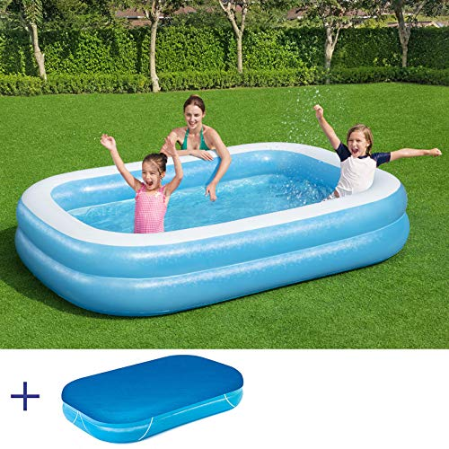 RAMROXX A38378SET BESTWAY Jumbo Pool Swimmingpool Planschbecken Kinderpool 262x175x51cm mit Cover