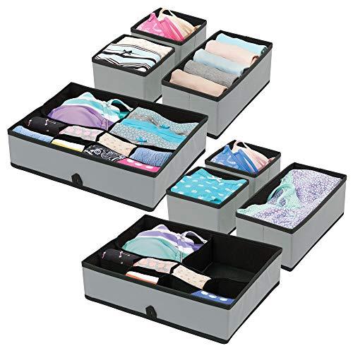mDesign Juego de 8 organizadores de armarios – Prácticas Cajas organizadoras para ordenar los armarios – Sistema de 8 Cajas para Guardar Ropa, Cinturones y Otros Accesorios...