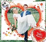 Absofine Hochzeitslaken zum Ausschneiden für Brautpaar Just Married Bettlaken mit 500stk Rosenblüten Ausschneiden Herzmotiv Deko Hochzeitsspiele Geschenkidee für Hochzeit