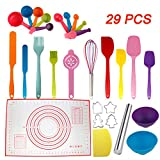 Set of 29 PCS Kitchen Utensils- Silicone Spatula, Rolling Pin, cookie cutters, Pastry Mat, Measuring...